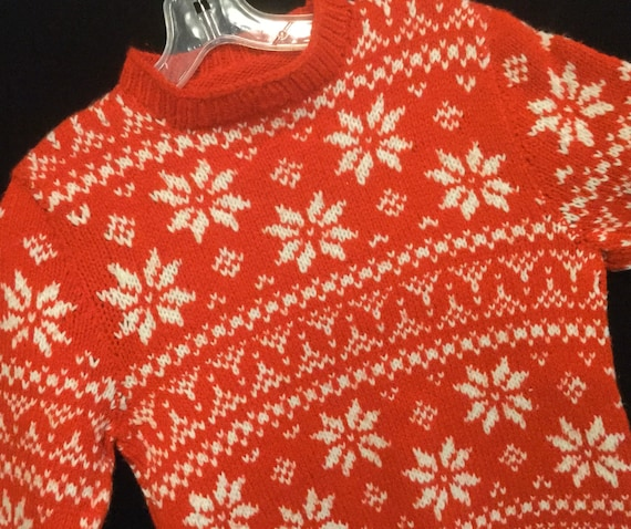 Hand Knit Nordic Sweater Fair Isle Red Snowflake P