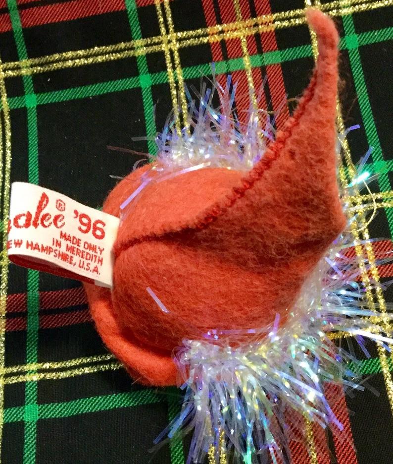 Annalee Doll Christmas Ornament  1994-96-97 Elf Head Skier Bunny Rabbit Present Vintage 3 Piece SET