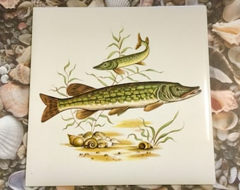Bass Fish Tile Fish Trivet Fish Hot Plate Vintage by Designed Tiles of New York City Hand Decorated Fish Decor Wall Art