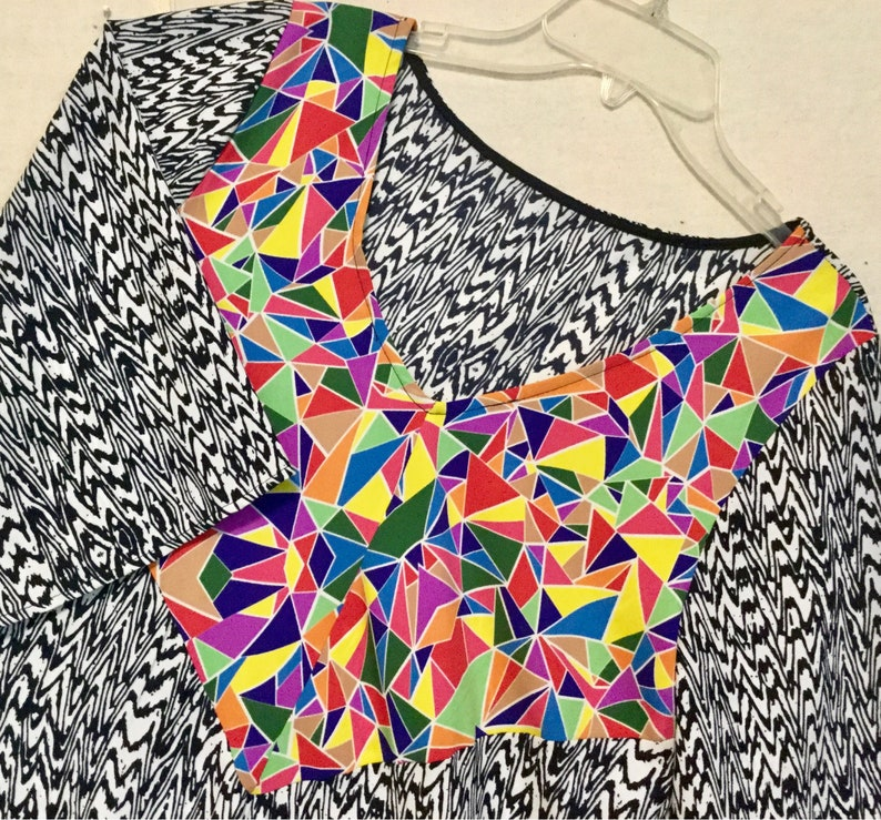 1f66ad19aa9 Dress Tunic Blouse Top Black Multicolor Abstract Geometric V | Etsy