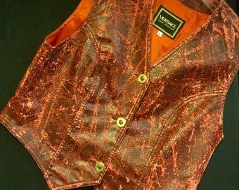 Versace Vest Size Large Faux Snakeskin Vest Red Vest Distressed Vest Pleather Vest Woman's Vintage Vest Country Westen Cowboy