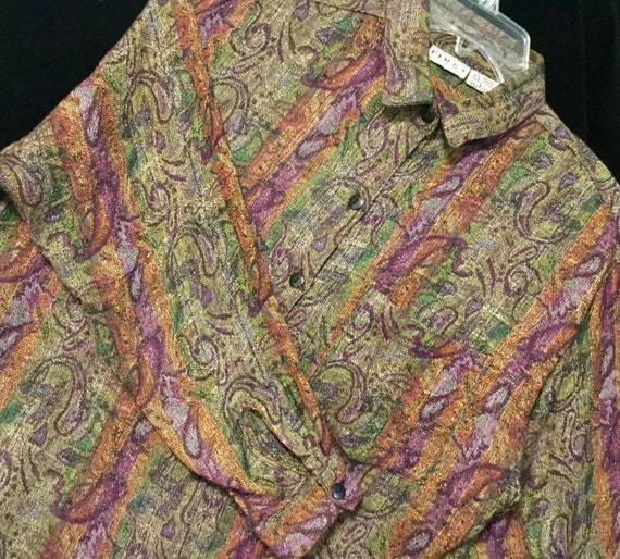 066b3a4ac2d Paisley Print Blouse Shirt Woven Brown India Cotton Long | Etsy