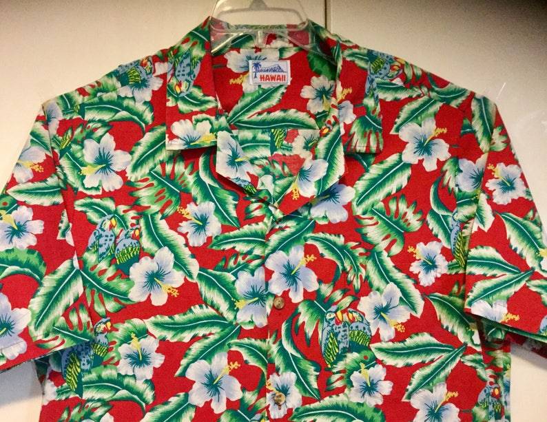 0c660b73b Mens Hawaiian Shirt Parrot Jimmy Buffet Print Red Green Aloha | Etsy