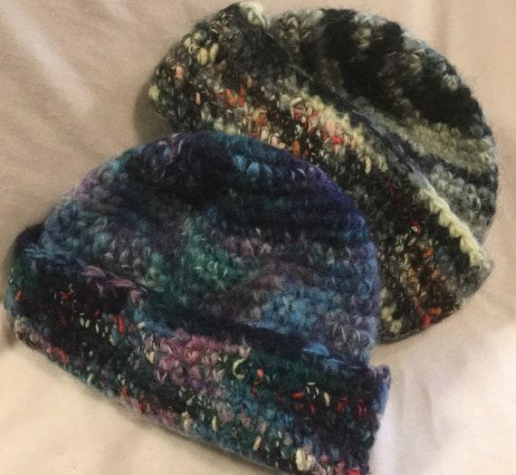 1980s Italian Beanie Hat Skull Cap Pair Crochet Bl