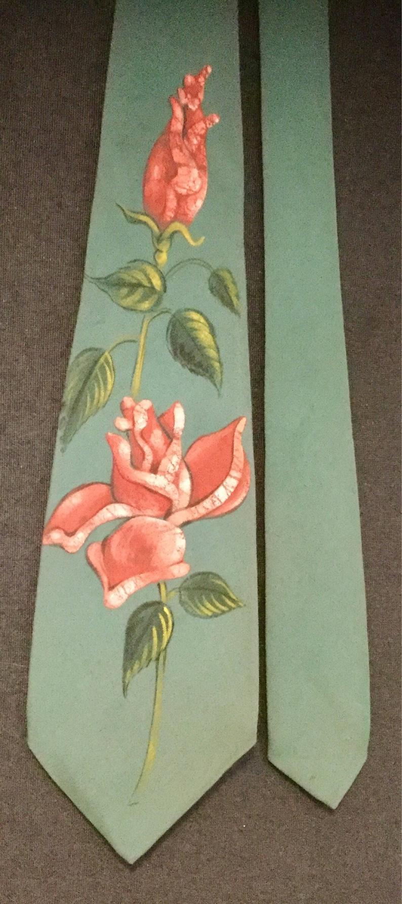 1940s Tie Necktie Hand-Painted Floral Print Rose Flower RedPinkBlueTealGreen Mens Unisex Vintage 1950s