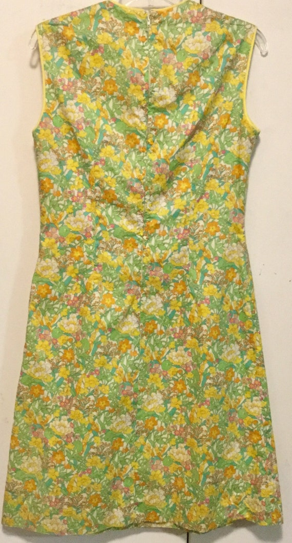 Macrame Yoke Sleeveless Neutral Dress  Size XSS Handmade Vintage Shift Dress