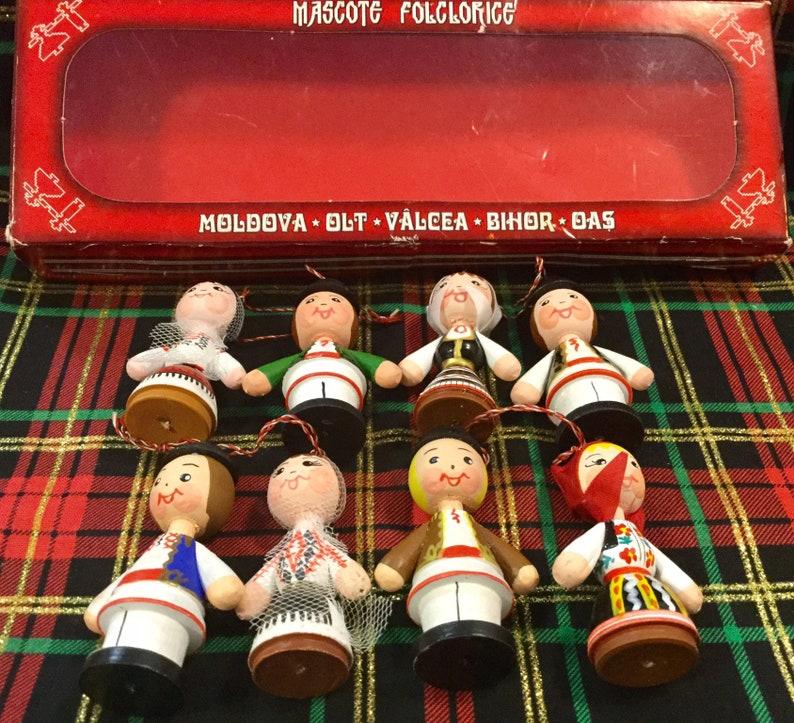 Wood Doll Ornaments Christmas Tree Hand Painted Folk Art Figurine Romania Polish Souvenir Couple Xmas Decor Vintage 8 Piece SET