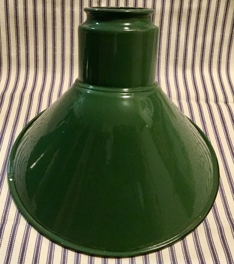 Metal Shade Pair Green Enamel Industrial Lighting Angle Shade Outdoor Service Station Factory Barn Ceiling Fixture NWOT 2 Piece SET Vintage