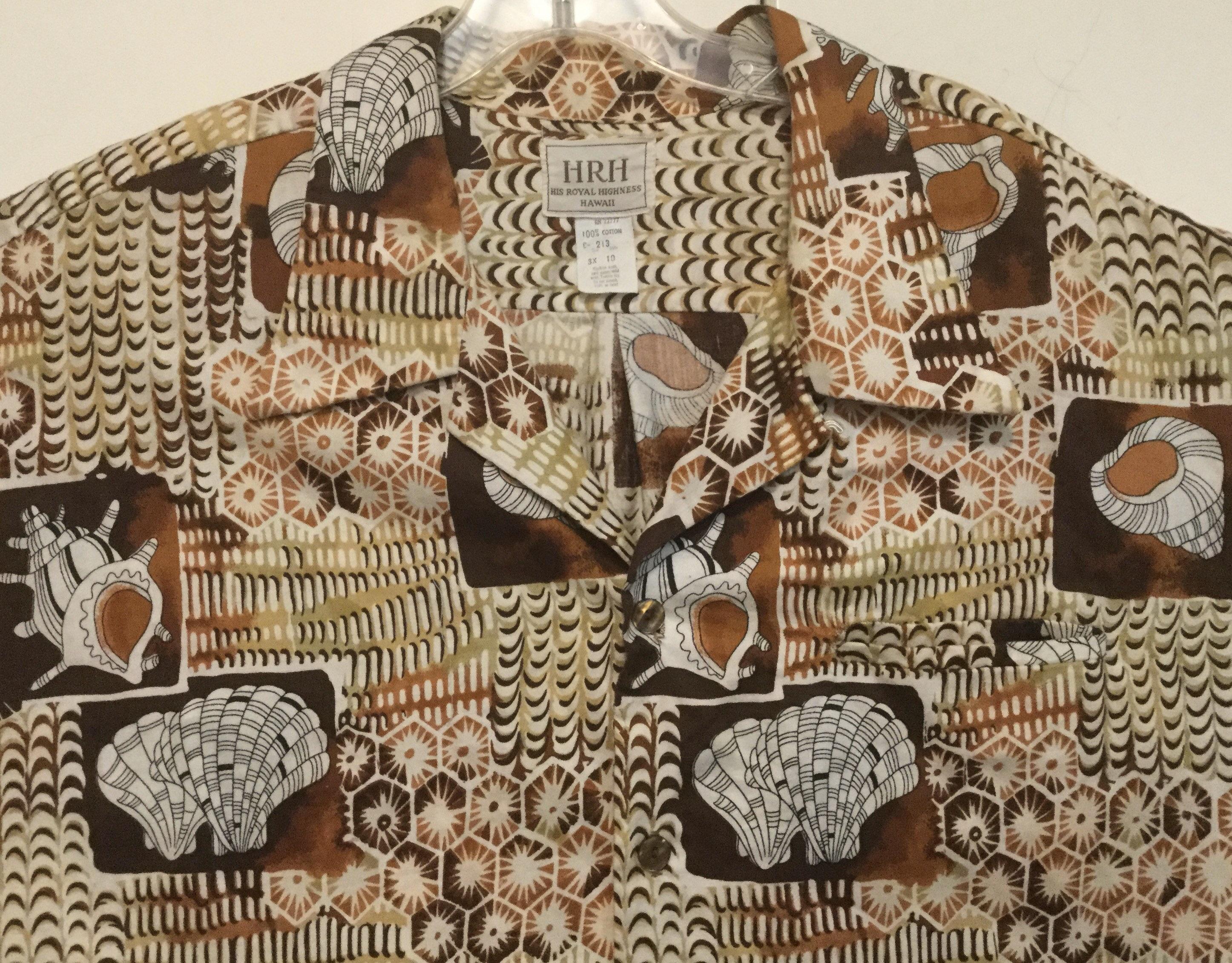 1970s Mens Shirt Styles – Vintage 70s Shirts for Guys 1970 Mens 3xl Hawaiian Shirt Hrh His Royal Highness Shell Print Brown Seashell Graphic Beachwear Made in Hawaii Size  Chest 56 Vintage $0.00 AT vintagedancer.com
