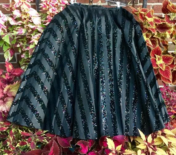 1950s Black Cocktail Skirt Long Full Maxi Velvet T