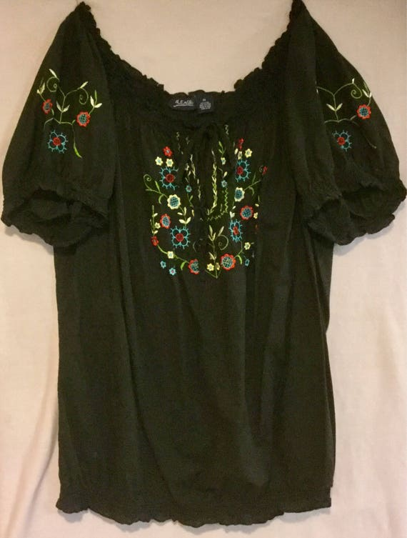 Black Embroidered Blouse Top Floral Peasant Hunga… - image 3