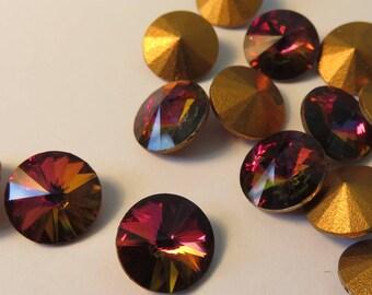 12 x art 1122 superior RIVOLI col Volcano - GOLD FOILED - 10 mm
