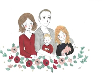 Personalized Family Portrait, Illustrated Family Portrait, Family Gift Portrait, Original Family Portrait, Family Portrait Drawing