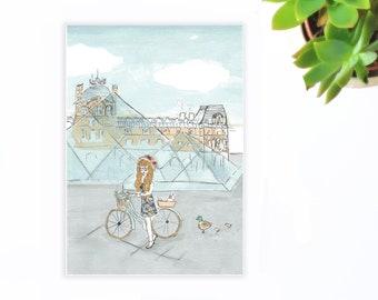 Paris map, postcard, louvre map
