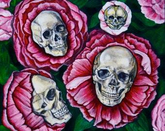 Peony Skulls Fine Art Print