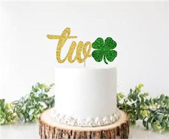 Admirable Shamrock Two Cake Topper Second Birthday Cake Topper St Etsy Funny Birthday Cards Online Necthendildamsfinfo