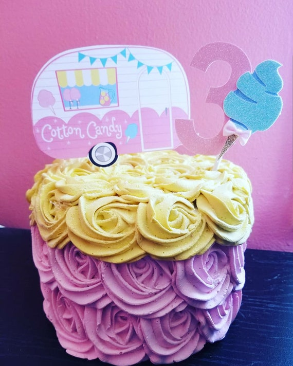 Stupendous Cotton Candycotton Candy Birthdaycandy Camperbirthday Cake Etsy Funny Birthday Cards Online Hendilapandamsfinfo