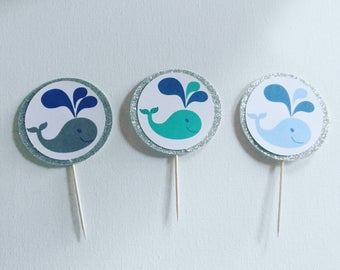 Whale birthday, whale baby shower, cupcake toppers, whale toppers