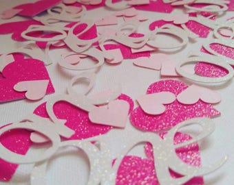 Pink confetti, 1st birthday, birthday confetti, pink and white
