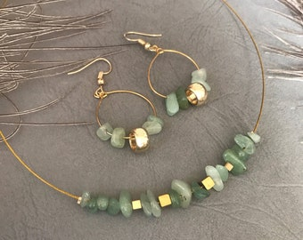 Handmade jewelry set designs from Greece for women, red or green necklace and matching earrings, birthday present, free shipping