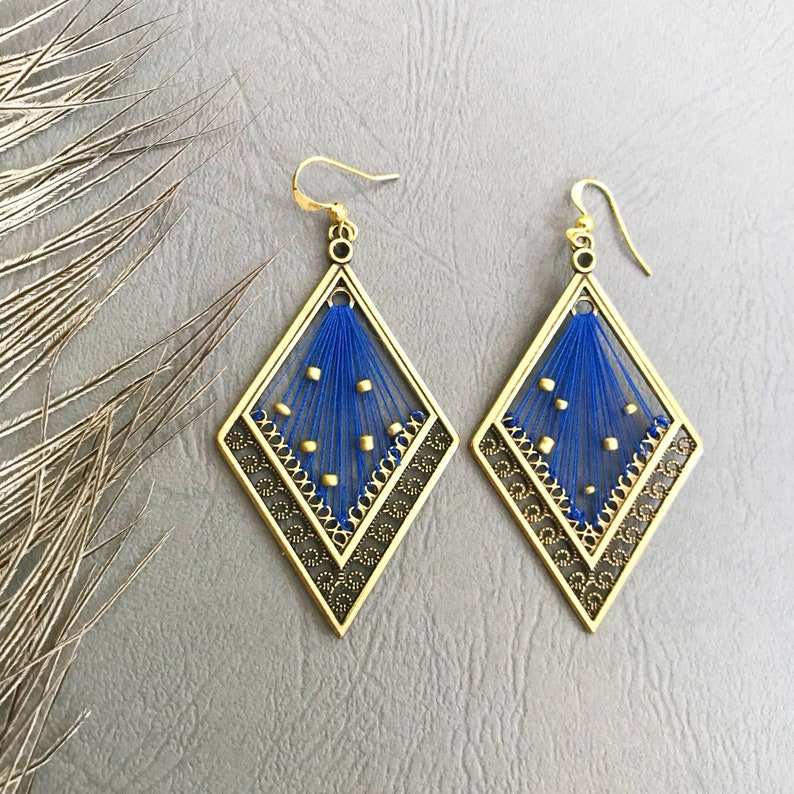 free shipping gift for her Handmade Greek jewelry pink matching beads blue or beige thread drop earrings