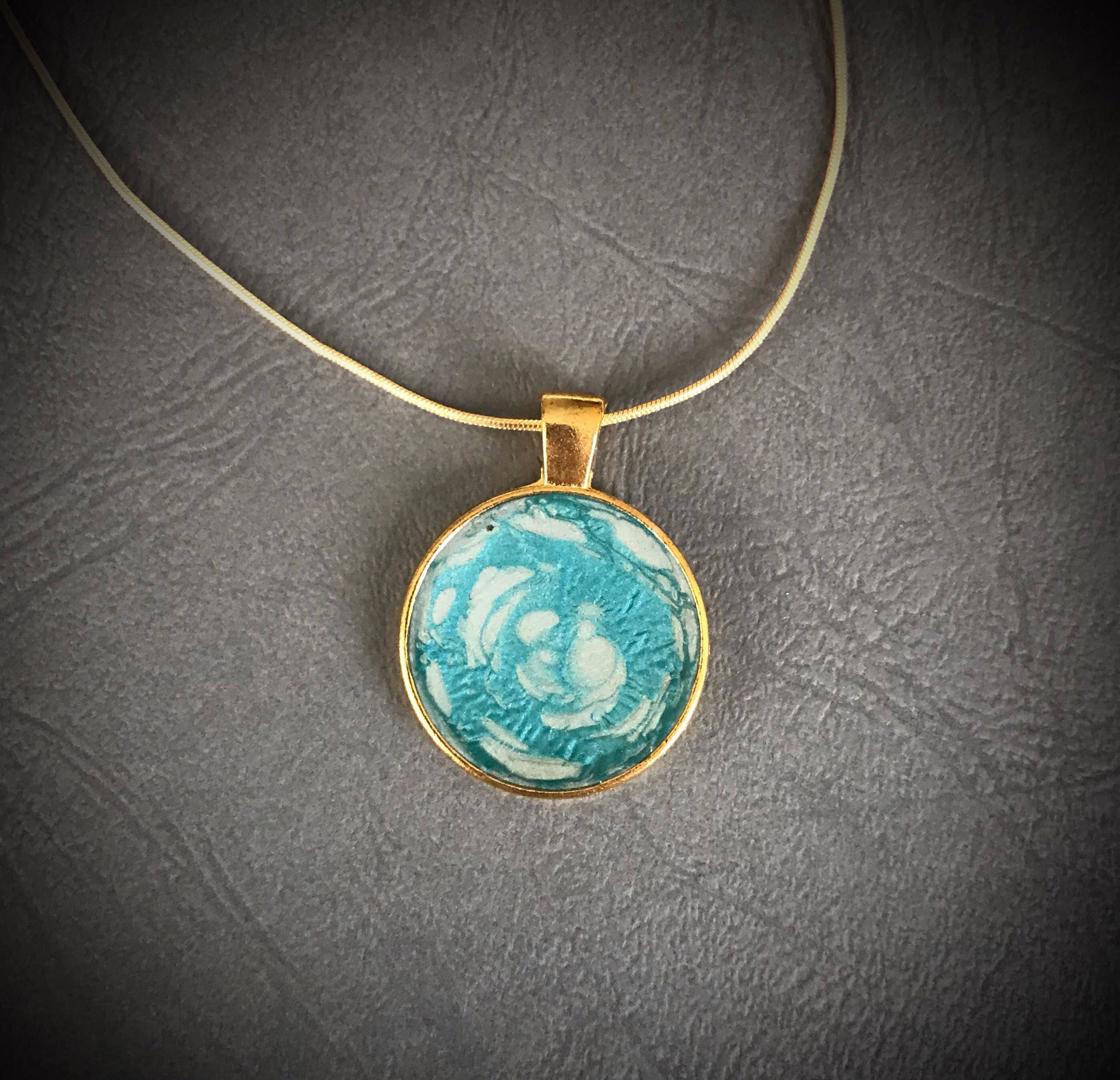Handmade Jewelry Designs Pendant Necklace Light Blue And