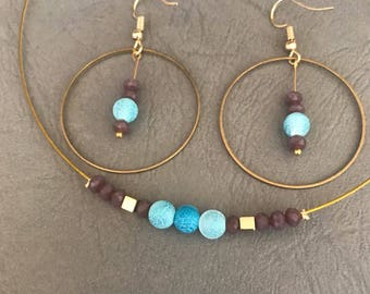 Handmade jewellery set designs, necklace and hoop earrings, blue, gold and purple jewellery set, gift for women, free shipping