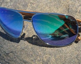 11e36af506 Hand made sunglasses. Canyon Laguna Aviator wooden sunglasses. Metal with  hand made Zebra wood arms. Silver-green Revo TAC UV400 polarized