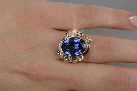 Russischer Alexandrit Ring Rose Gold 14 Kt über Silber Huge Alexandrit Ring Stone Changes Color Russian Jewelry Anna Karenina Ring