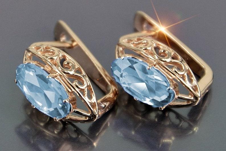 Sapphire Earrings Aquamarine Earrings Amethyst Earrings Silver Covered with Rose Gold 14 KT Russian Earrings Russian Jewelry Soviet Design