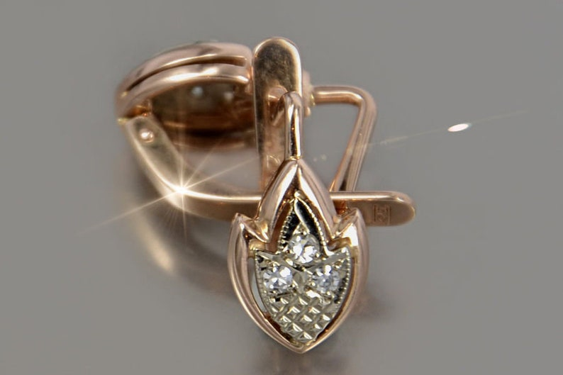 585 Gold Earrings 14 KT Russian Amber Rose Gold Earrings 14 KT Rose Gold Earrings Natural Amber Gold Earrings Russian Gold Earrings