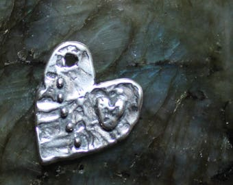 Heart on Heart with Dots Charm, Sterling Silver, Lost Wax Cast, Artisan, Love, Boho, CH13
