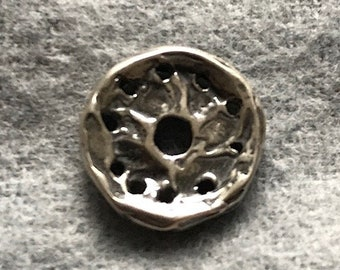 Button, Single Hole with Design, Sterling Silver, Artisan, Lost Wax Cast, Hand Carved, BT2