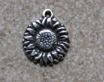 Sunflower Charm, Hand Crafted ,Lost Wax Cast, Sterling Silver, Nature, Boho, Artisan, CH22