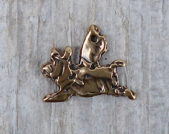 Flying Pig Charm, Artisan, Red Bronze, Lost wax Cast, Nature, Animal, Humor, CH12B