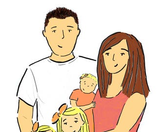 Personalised Family Portrait Illustration Commission Made To Order