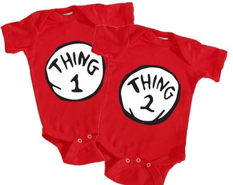 Thing 1   Thing 2 Baby Bodysuit T-Shirt 340aa94be