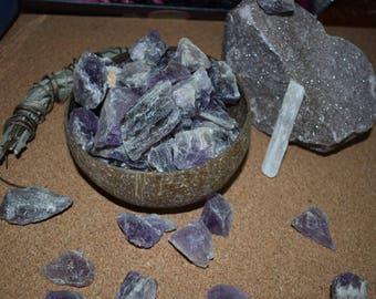 Rough amethyst crystals