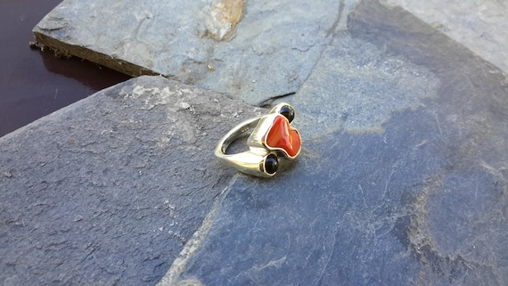 No.239 Natural Sleeping BeautyTurquoise and Mediterranean Red Coral Ring