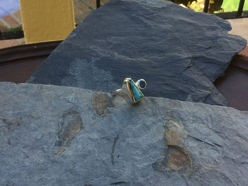 183# Natural Kingman Turquoise and Ice Blue Topaz Ring