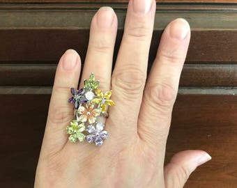 Springtime Themed Floral Ring. Size 8 1/2 Ring. Multi-Color Crystal Rhinestone Ring. Oversized Statement Ring. Gifts for Her. Mother's Day.