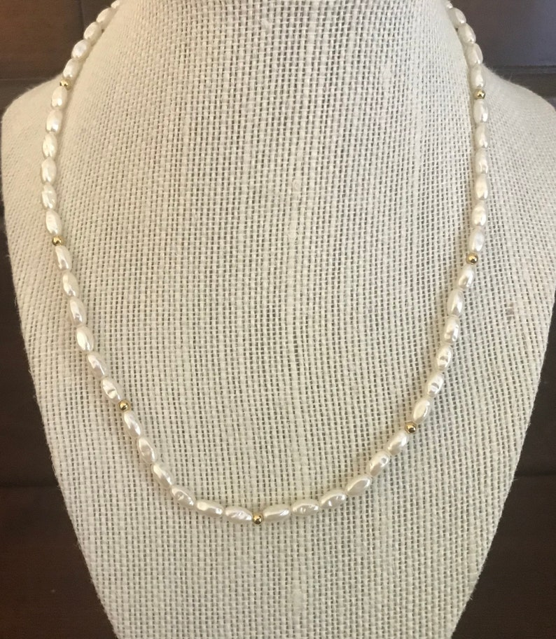 71f9fb2986e91 Vintage Rice Pearl Necklace With Gold Beads. 18 Inches Long. Delicate Rice  Pearl Necklace. Rice Pearl Jewelry. White Pearl Necklace.