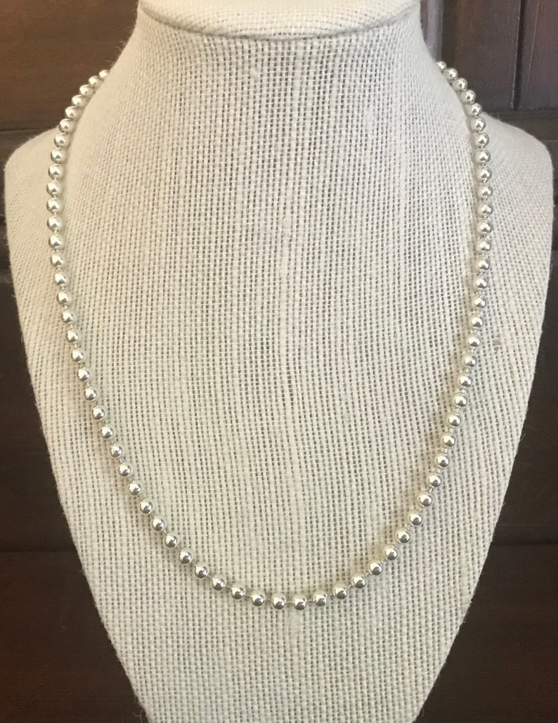 Long Silver Bead Necklace Minimalist Silver Bead Necklace. Premier Design Jewelry 24 Inch Silvertone Bead Premier Design Necklace