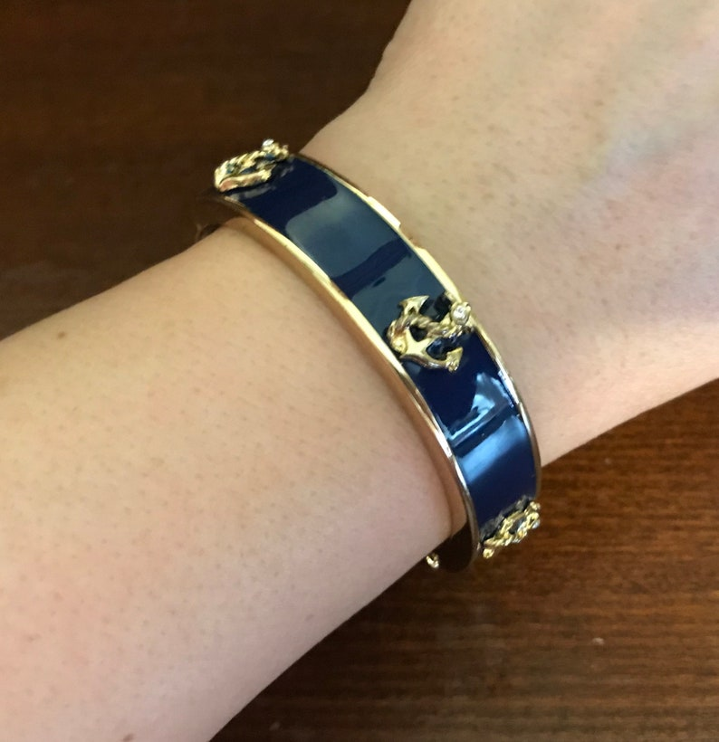 "Vintage JOAN RIVERS Blue Enamel Gold Tone X/'s Link Bracelet 8/"""