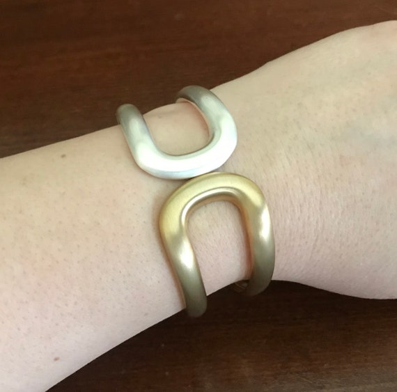Two-Tone Matte Goldtone and Silvertone Wide Hinge… - image 2