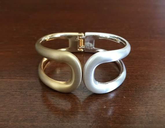 Two-Tone Matte Goldtone and Silvertone Wide Hinge… - image 1