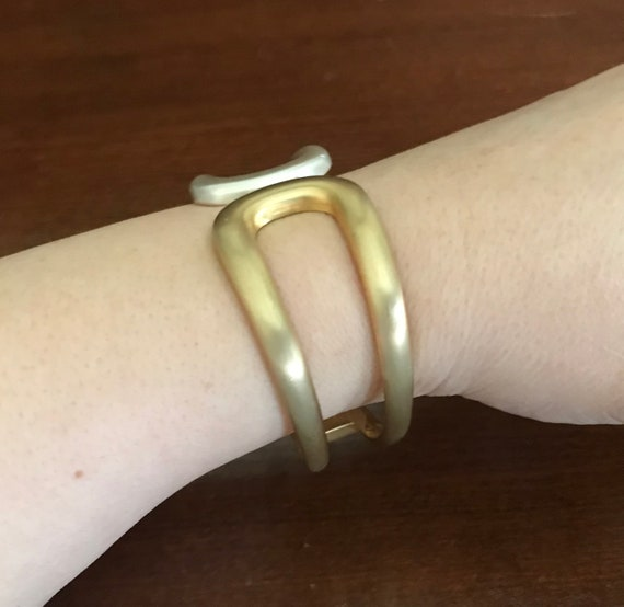 Two-Tone Matte Goldtone and Silvertone Wide Hinge… - image 3