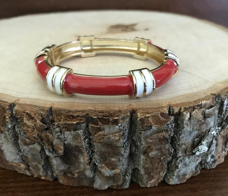 Summer Bracelet Nautical Red and White Enamel Goldtone Clamper Bracelet Nautical Theme Red and White Cuff Bracelet Nautical Style Jewelry