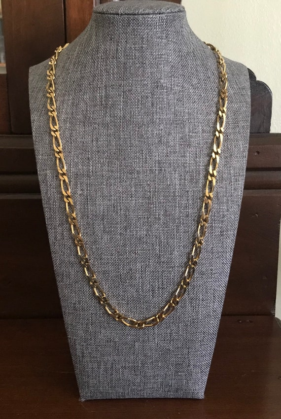 24 Inches Long Goldtone Paperclip Chainlink Station Necklace Goldtone Layering Chain.