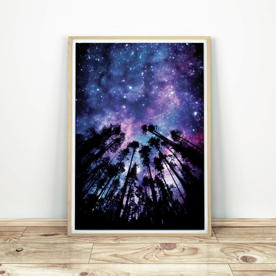 US SELLER redecorating bedroom night sky stars forest art poster